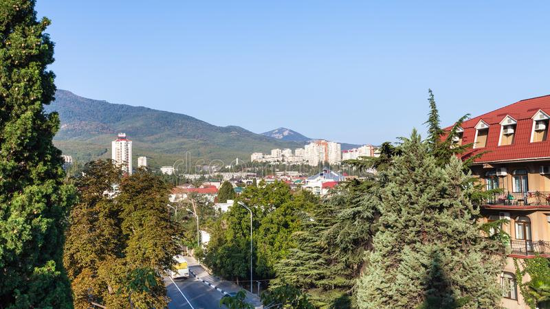 Alushta miasto od Baglikov ulicy w ranku obrazy stock