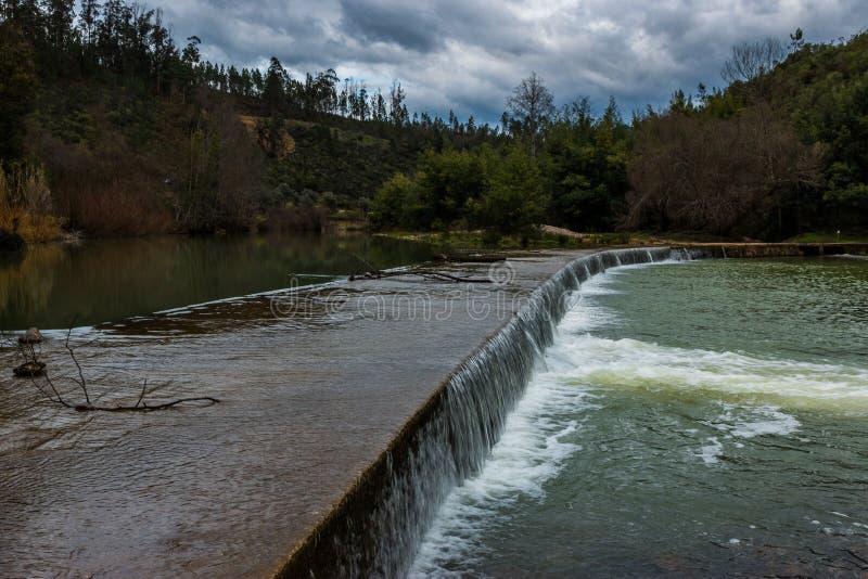 Alva river small dam, Penacova, Portugal. Alva river small dam near Penacova, Coimbra, Portugal royalty free stock images