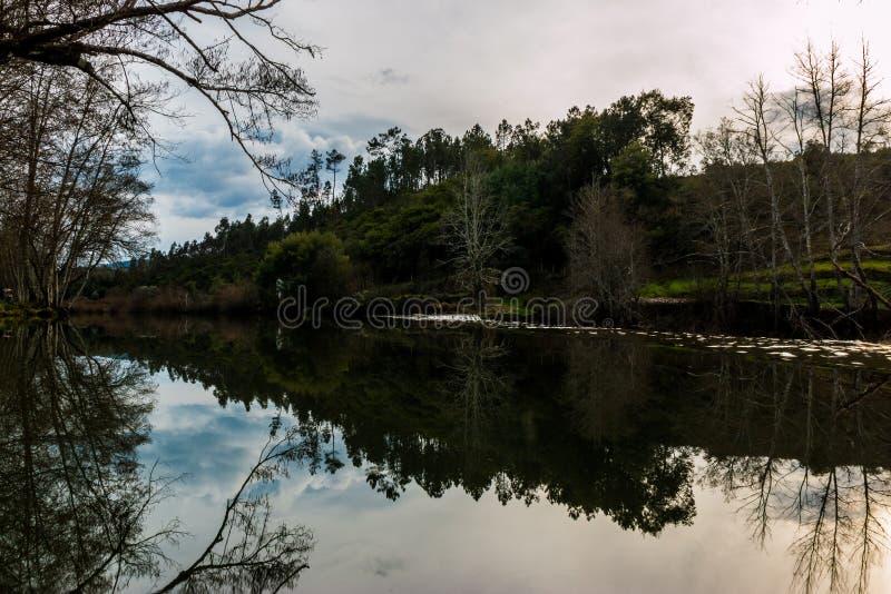 Alva river small dam, Penacova, Portugal. Alva river small dam near Penacova, Coimbra, Portugal stock image