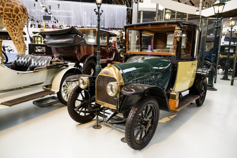 Alva, Type C13, 1913. Brussels, Belgium - August 25, 2015 - Autoworld Museum, old cars collection showing the history of automobiles from the beginnings royalty free stock photography
