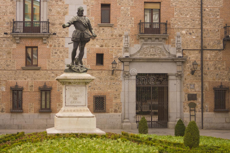 Alvaro de Bazan Monument. A monument to Spanish naval commander Don Alvaro de Bazan (1526-1588) is located in a quiet square in Madrid. The statue was created by royalty free stock photo