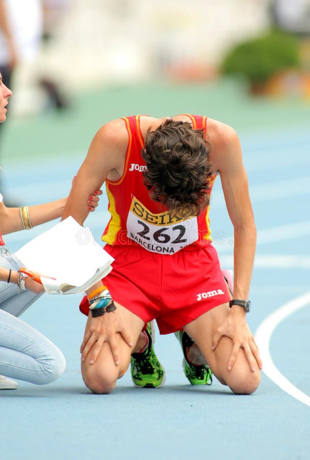 Alvaro Martin of Spain. When finished 10000 metres race walk event of of the 20th World Junior Athletics Championships at the Olympic Stadium on July 13, 2012 royalty free stock images
