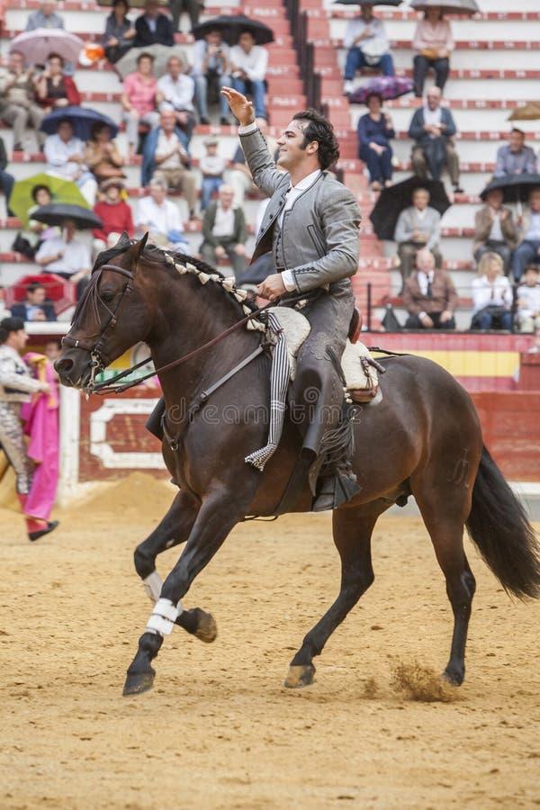 Alvaro Montes, bullfighter on horseback spanish, Jaen, Spain. Jaen, SPAIN - October 13, 2008: Alvaro Montes, bullfighter on horseback spanish, in the bullring in stock photo