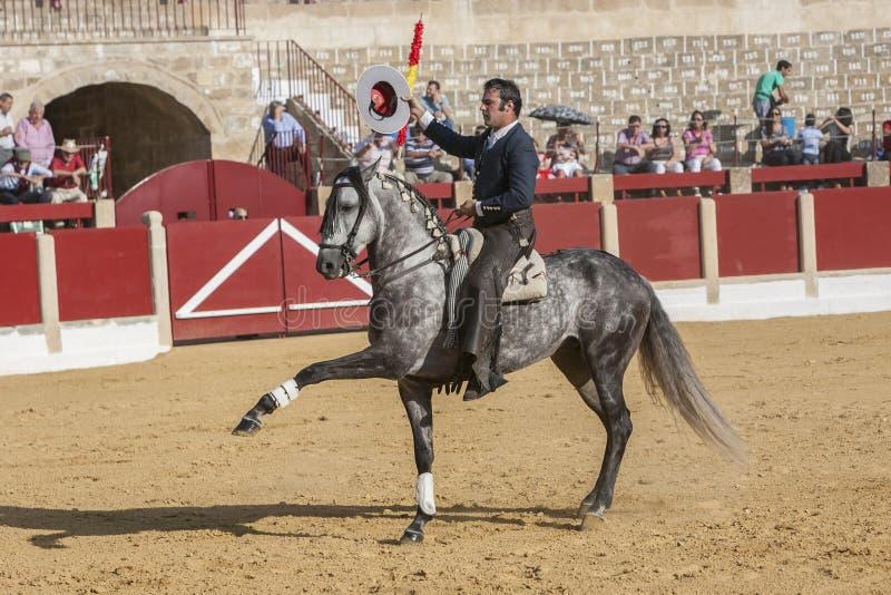 Alvaro Montes, bullfighter on horseback spanish, Ubeda, Jaen, Spain. Ubeda, SPAIN - September 29, 2011: Alvaro Montes, bullfighter on horseback spanish in the stock images