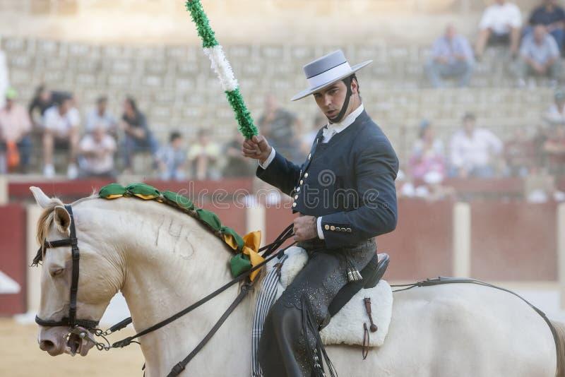 Alvaro Montes, bullfighter on horseback spanish, Ubeda, Jaen, Spain. Ubeda, SPAIN - September 29, 2011: Alvaro Montes, bullfighter on horseback spanish in the royalty free stock photos