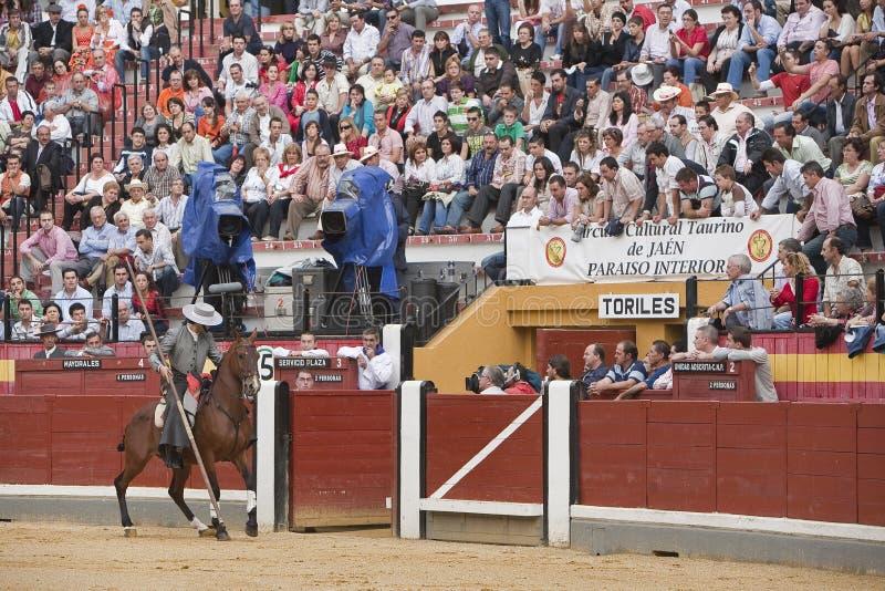 Alvaro Montes, bullfighter on horseback spanish witch garrocha. (blunt lance used on ranches), Coso de la Alameda, Jaen, Spain, 13 october2008 stock photography