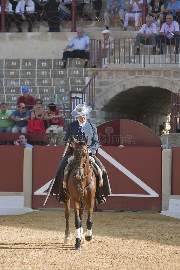 Alvaro Montes, bullfighter on horseback spanish witch garrocha. (blunt lance used on ranches), Ubeda, Jaen, Spain, 29 september 2011 royalty free stock photos