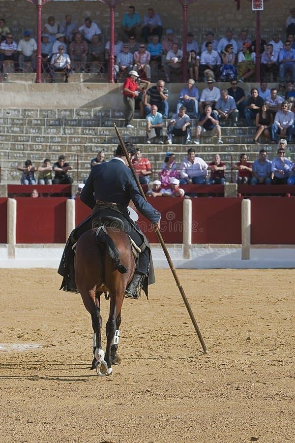 Alvaro Montes, bullfighter on horseback spanish witch garrocha. (blunt lance used on ranches), Ubeda, Jaen, Spain, 29 september 2011 stock photos