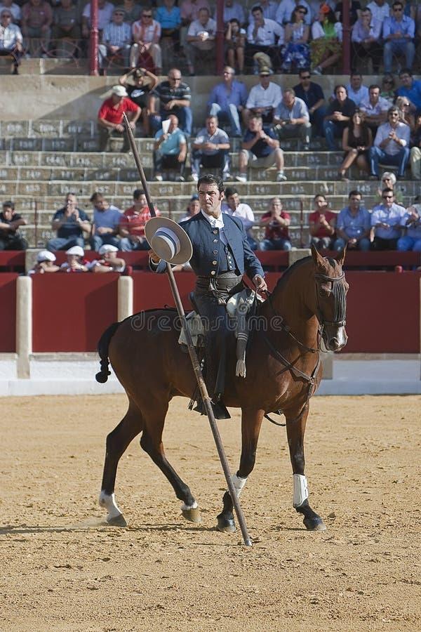 Alvaro Montes, bullfighter on horseback spanish witch garrocha. (blunt lance used on ranches), Ubeda, Jaen, Spain, 29 september 2011 royalty free stock images