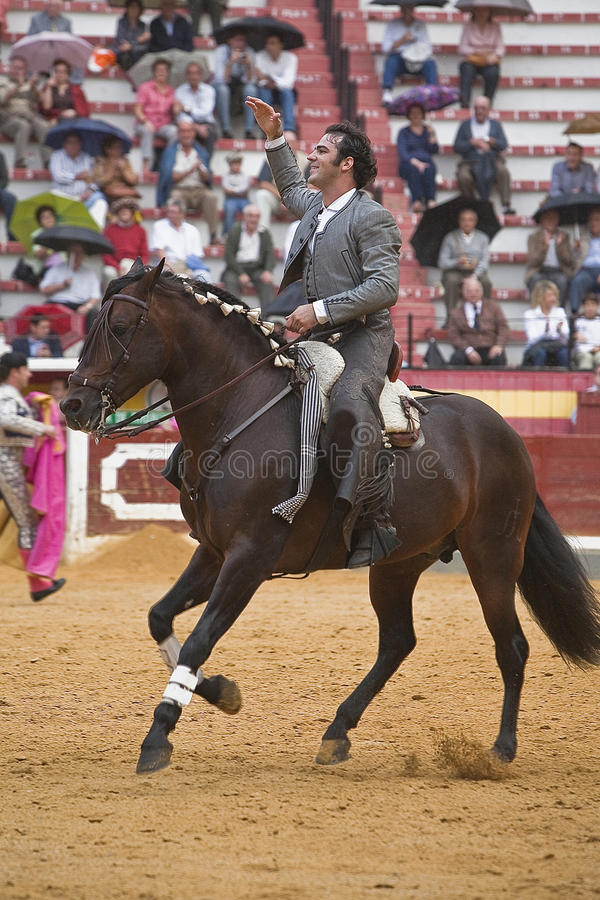 Alvaro Montes, bullfighter on horseback spanish witch garrocha. Alvaro Montes, bullfighter on horseback spanish, Coso de la Alameda, Jaen, Spain, 13 october2008 royalty free stock images