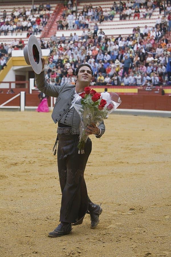 Alvaro Montes, bullfighter on horseback spanish witch garrocha. Alvaro Montes, bullfighter on horseback spanish, Coso de la Alameda, Jaen, Spain, 13 october2008 royalty free stock photos