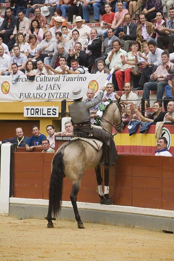 Alvaro Montes, bullfighter on horseback spanish witch garrocha. Alvaro Montes, bullfighter on horseback spanish giving the spectators, Coso de la Alameda, Jaen royalty free stock photos