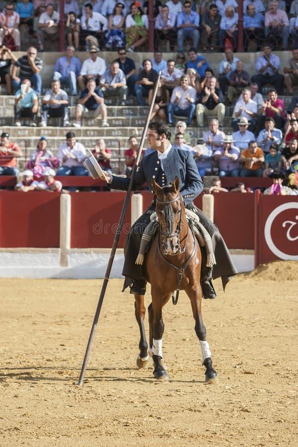 Alvaro Montes, bullfighter on horseback spanish witch garrocha (. Ubeda, SPAIN - September 29, 2011: Alvaro Montes, bullfighter on horseback spanish witch royalty free stock photo