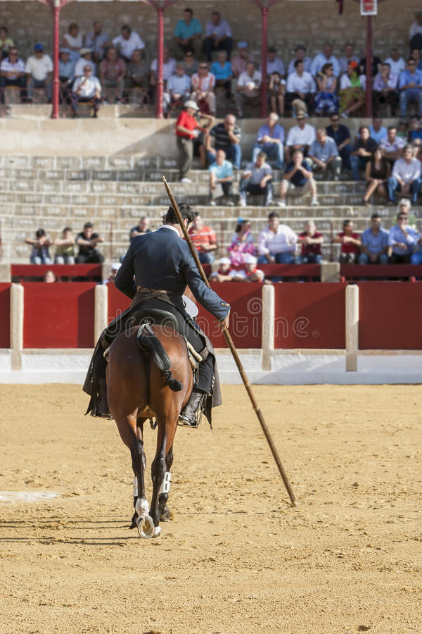 Alvaro Montes, bullfighter on horseback spanish witch garrocha (. Ubeda, SPAIN - September 29, 2011: Alvaro Montes, bullfighter on horseback spanish witch royalty free stock image
