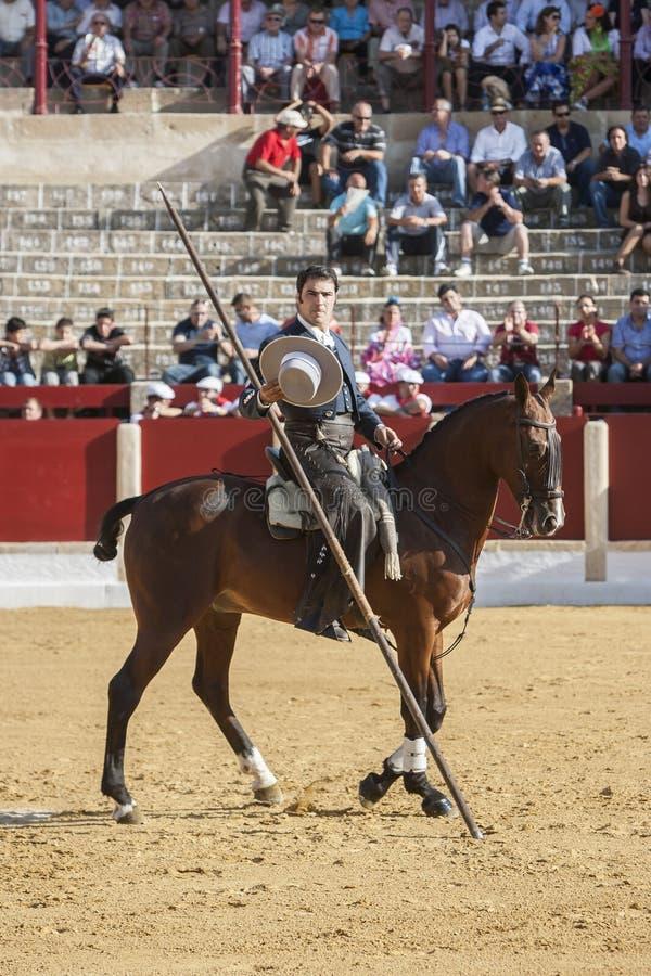 Alvaro Montes, bullfighter on horseback spanish witch garrocha (. Ubeda, SPAIN - September 29, 2011: Alvaro Montes, bullfighter on horseback spanish witch stock photos