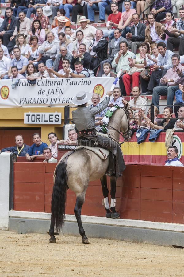 Alvaro Montes, bullfighter na horseback hiszpańskim, Jaen, Hiszpania fotografia royalty free