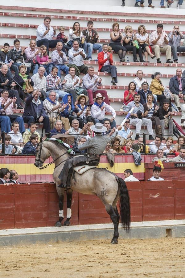 Alvaro Montes, espanhol do toureiro a cavalo, Jae'n, Espanha fotografia de stock
