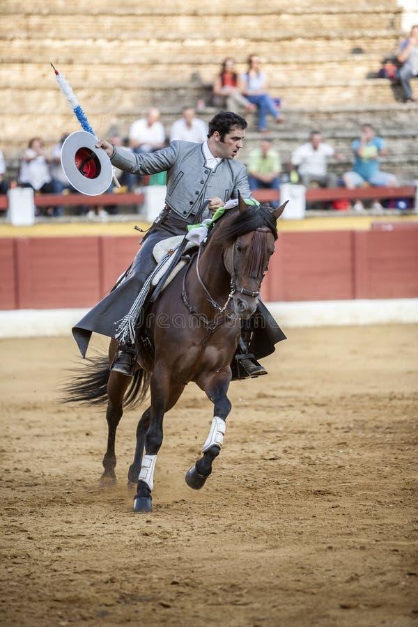 Alvaro Montes, espanhol do toureiro a cavalo, Ubeda, Espanha imagem de stock