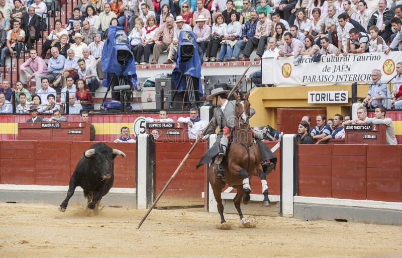 Alvaro Montes, garrocha espanhol da bruxa do toureiro a cavalo ( imagem de stock royalty free