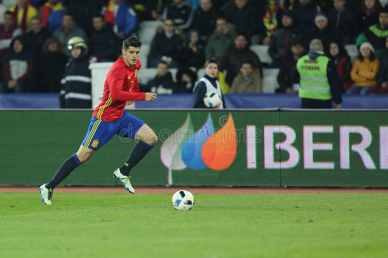 Alvaro Morata. Alvaro Borja Morata Martin striker of the Spanish National Football Team, pictured during the friendly match between Romania and Spain, played at stock image