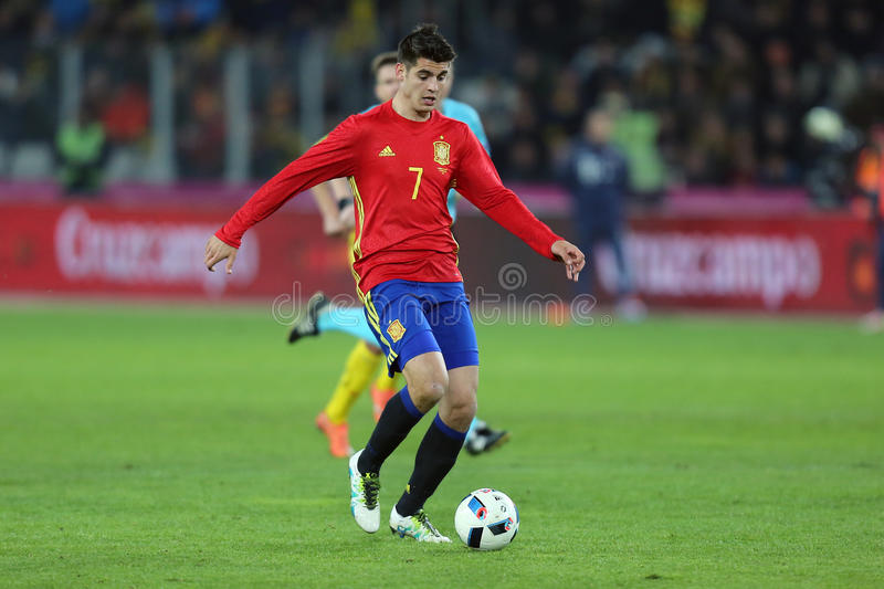 Alvaro Morata. Alvaro Borja Morata Martin striker of the Spanish National Football Team, pictured during the friendly match between Romania and Spain, played at stock photo