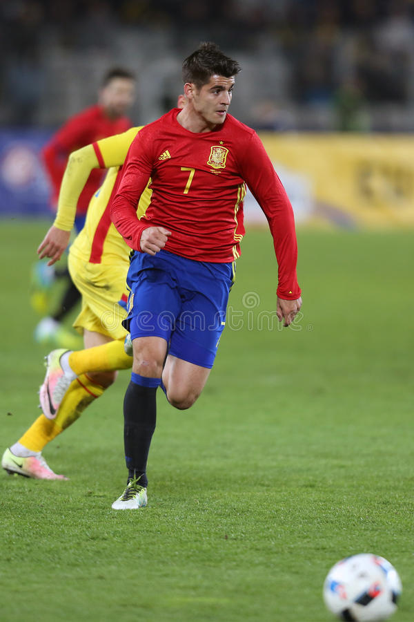 Alvaro Morata. Alvaro Borja Morata Martin striker of the Spanish National Football Team, pictured during the friendly match between Romania and Spain, played at royalty free stock photos