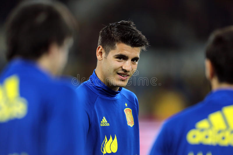 Alvaro Morata. Alvaro Borja Morata Martin striker of the Spanish National Football Team, pictured before the friendly match between Romania and Spain, played at royalty free stock photo