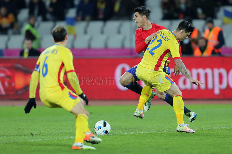 Alvaro Morata faulted. Alvaro Borja Morata Martin striker of the Spanish National Football Team, pictured during the friendly match between Romania and Spain royalty free stock photos