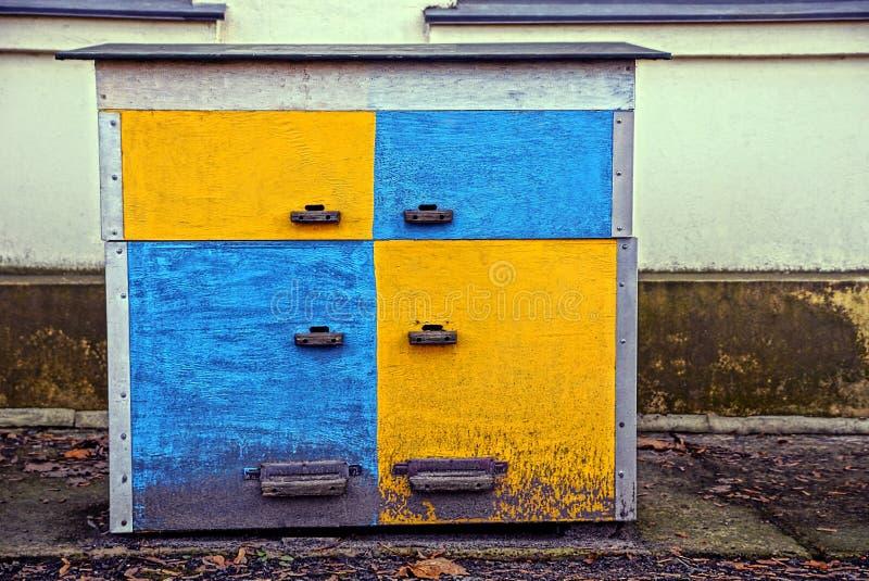 Alveare di legno colorato vicino alla parete nell'iarda immagini stock