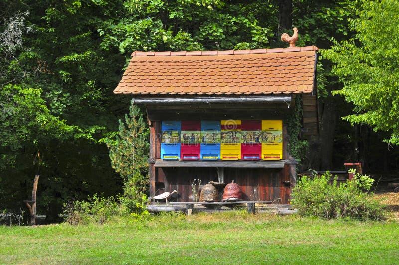 Alveare di legno variopinto e pittoresco tradizionale in Slovenia fotografia stock libera da diritti