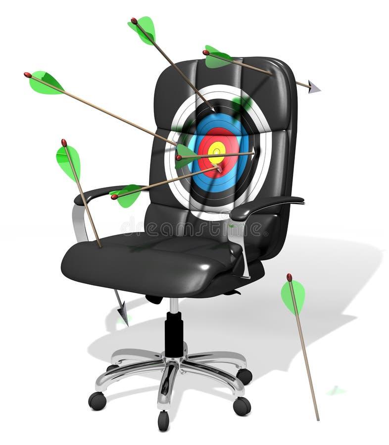 Alvo da cadeira e setas executivos, ilustração 3D ilustração royalty free