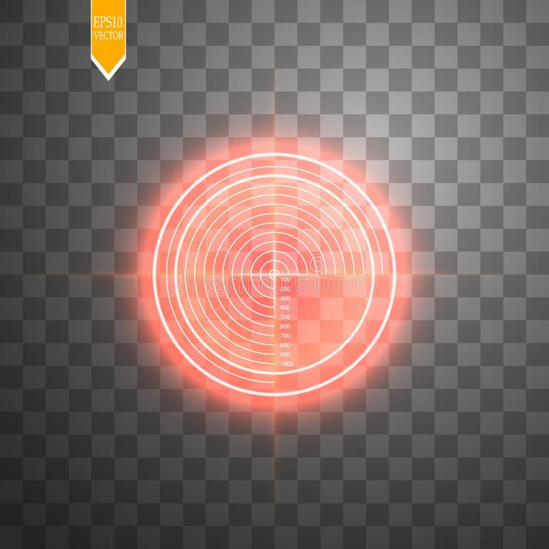 Alvo de néon isolado Elemento da relação do jogo Ilustração do vetor ilustração stock