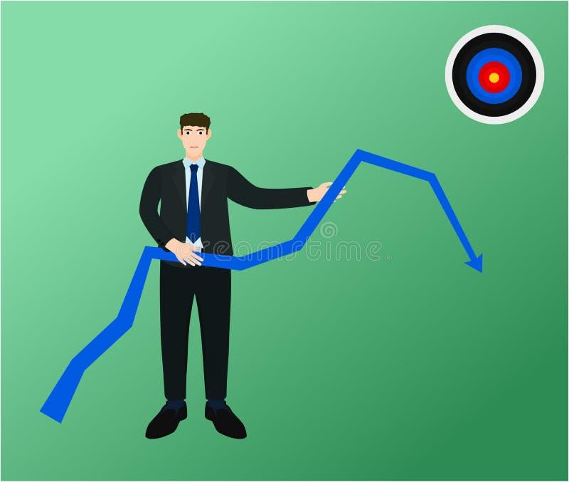 Alvo do alcance do gráfico do impulso do homem de negócio baixo não ilustração stock