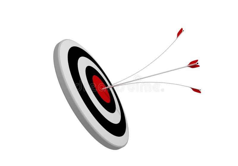 Alvo do tiro ao arco com o bullseye das setas no centro rendição 3d ilustração do vetor
