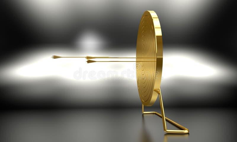 Alvo dourado do tiro ao arco ilustração do vetor