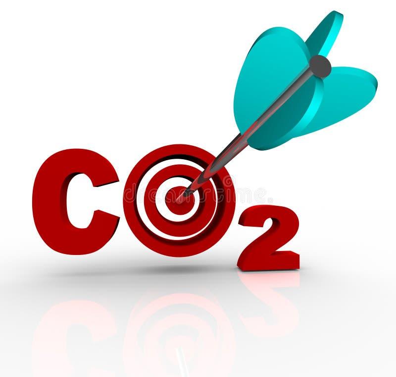 Alvo e objetivo da redução do dióxido de carbono do CO2 ilustração stock
