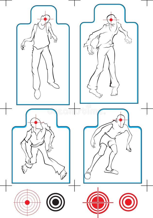 Alvo engraçado do zombi do vetor ilustração stock