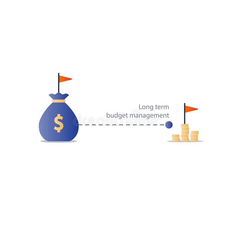 Alvo financeiro do futuro distante, ícone do plano do orçamento, lucro do dinheiro do rendimento ilustração do vetor