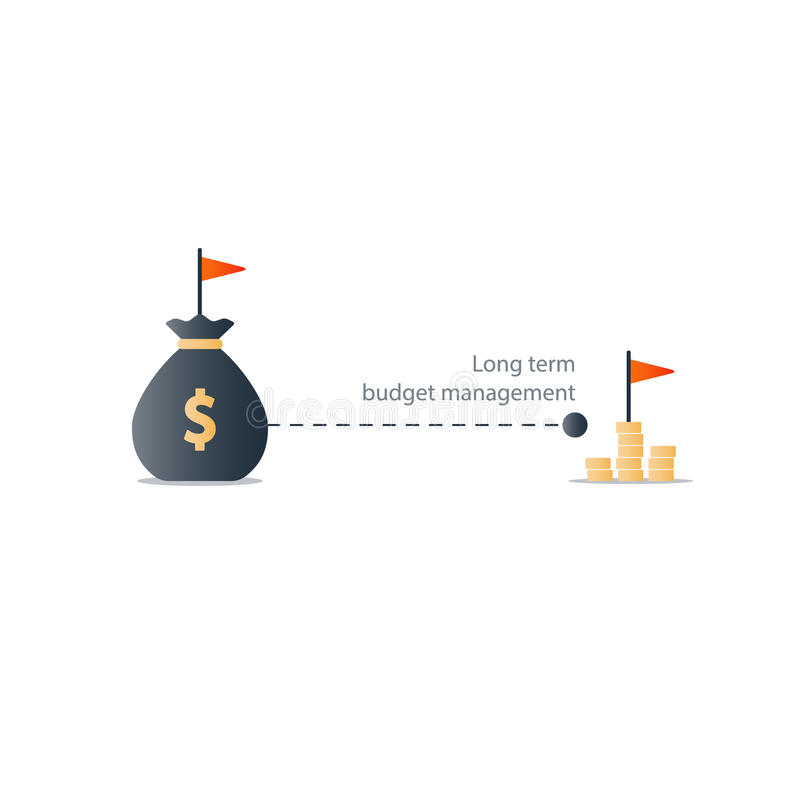 Alvo financeiro do futuro distante, ícone do plano do orçamento, lucro do dinheiro do rendimento ilustração royalty free