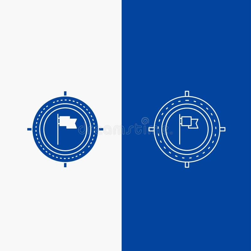 Alvo, negócio, fim do prazo, bandeira, botão da Web da linha do foco e do Glyph na bandeira vertical da cor azul para UI e UX, We ilustração stock