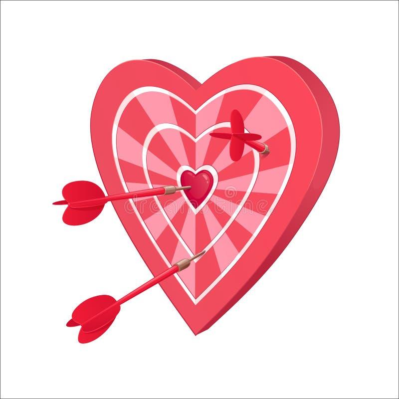 Alvo para dardos sob a forma do coração ilustração do vetor