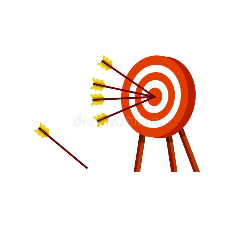Alvo para setas amarelas Objetivo vermelho e branco ilustração do vetor