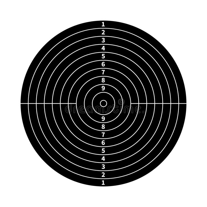 Alvo preto da contagem para a prática de tiro no branco ilustração do vetor