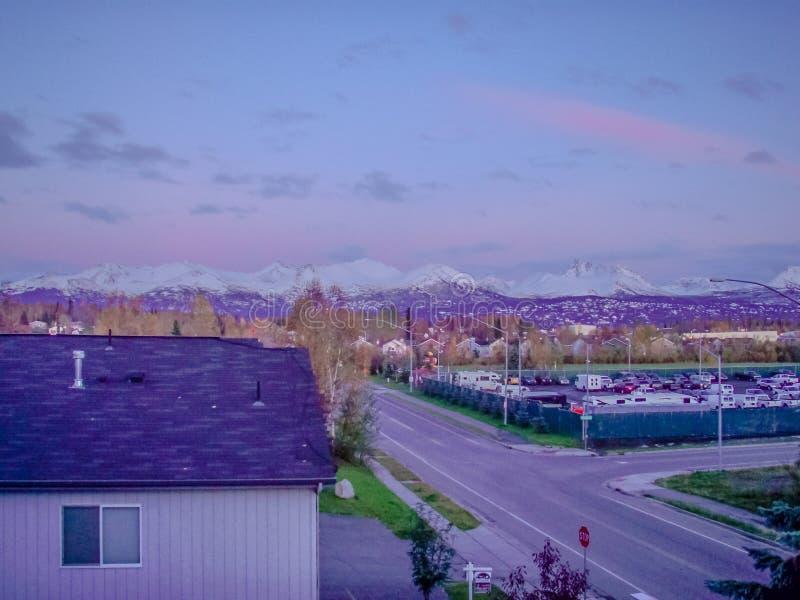 Alvorecer Alaska da paisagem foto de stock royalty free