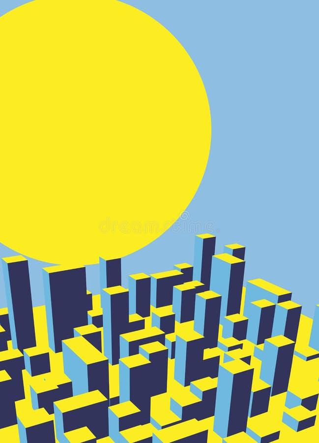 Alvorecer da cidade da skyline Cidade abstrata Vetor industrial IL da paisagem ilustração royalty free
