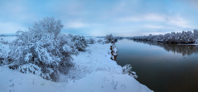 Alvorecer do ` s do ano novo do inverno com neve macia fotos de stock royalty free