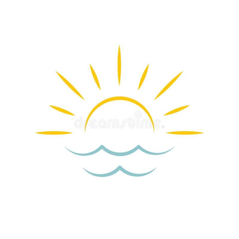 Alvorecer no mar ?cone de Sun Conceito do emblema da agência de viagens, molde do logotipo do vetor ilustração do vetor