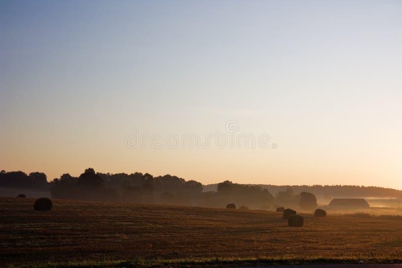 Alvorecer, paisagem rural foto de stock