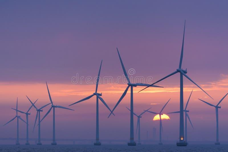 Alvorecer A Pouca Distância Do Mar De Lillgrund Do Windfarm, Suécia Imagem de Stock Editorial
