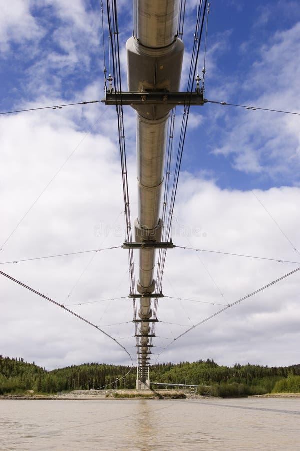 Alyeska pipeline bridge over Tanana river royalty free stock photo